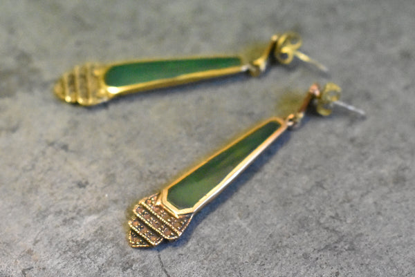 'antonella' earrings bronze | jade