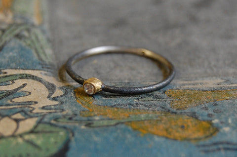 'union' 925 silver ring (oxidised & gold-plated)