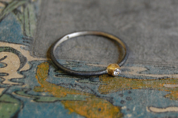 'union' 925 silver ring (oxidized & gold-plated)