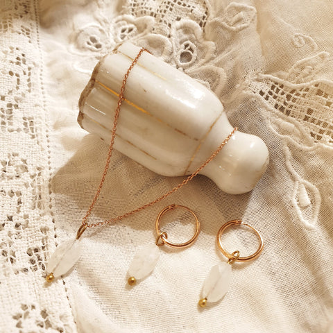 moonstone set | 24k rose gold-plated