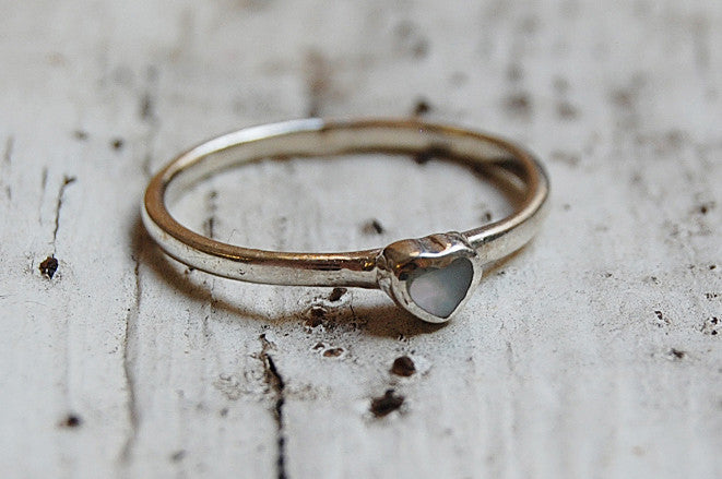 mother of pearl heart silver ring