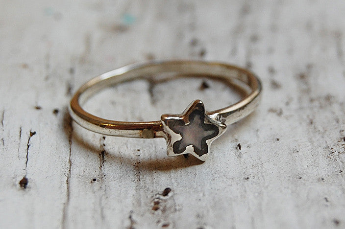 mother of pearl star silver ring
