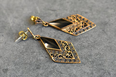 aashi earrings (bronze & onyx)