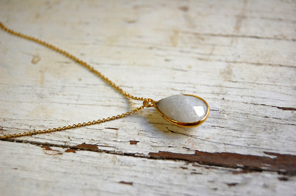 moonstone | cut pendant necklace | 24k gold-plated