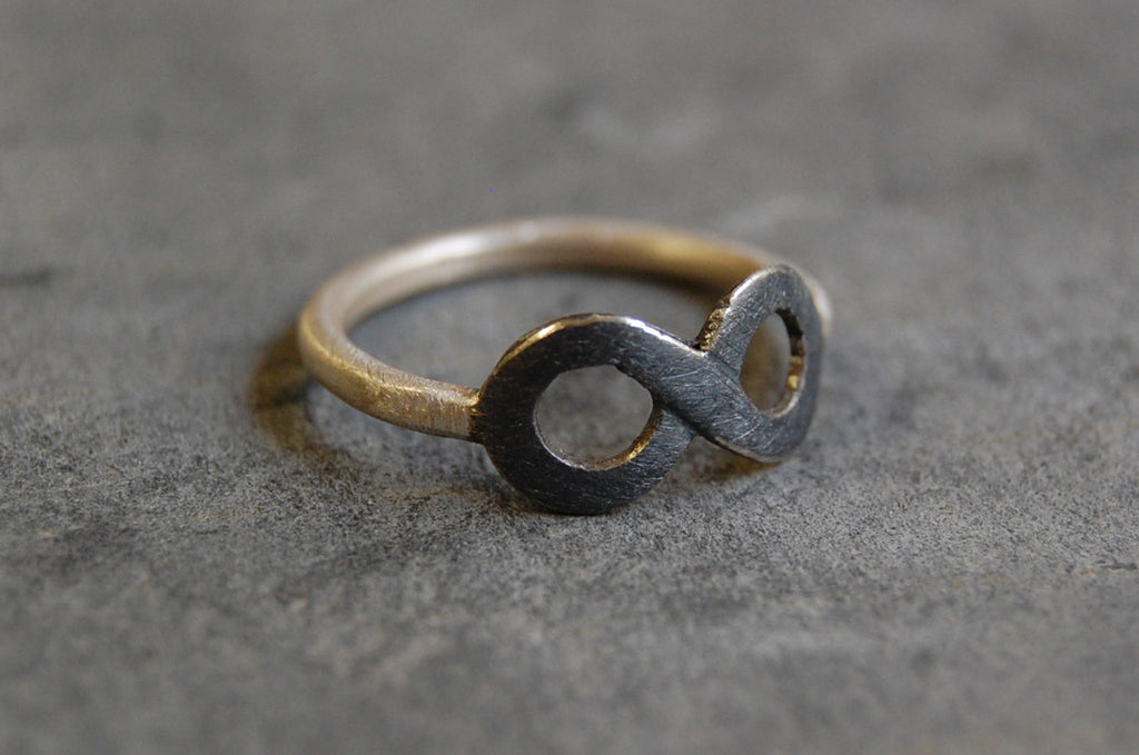 'infinity' ring 925 silver oxidised