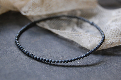 silver ball bracelet oxidised