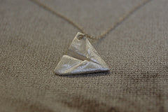 silver paper dart necklace