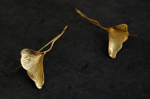 ginkgo leaf earrings | 24k gold-plated