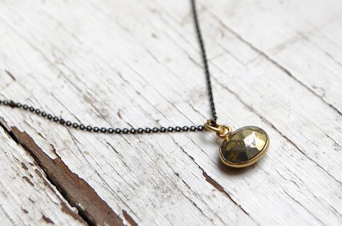 Pyrite cut stone pendant necklace