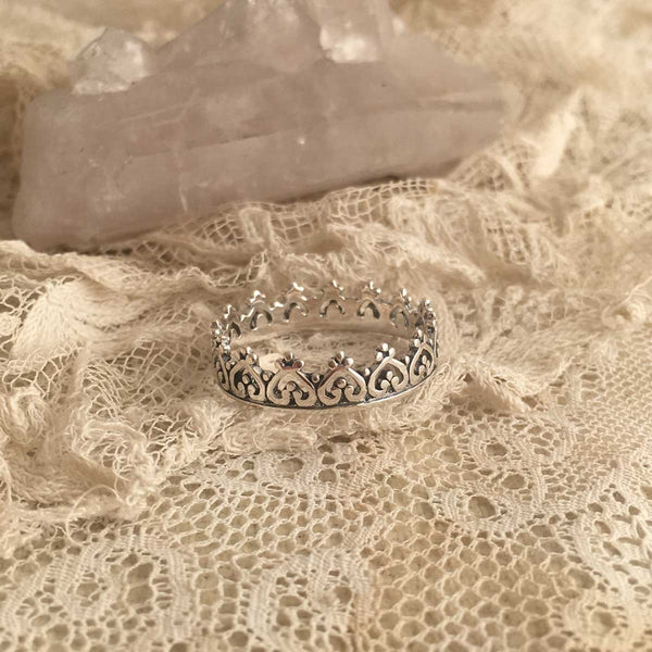 queen crown silver ring