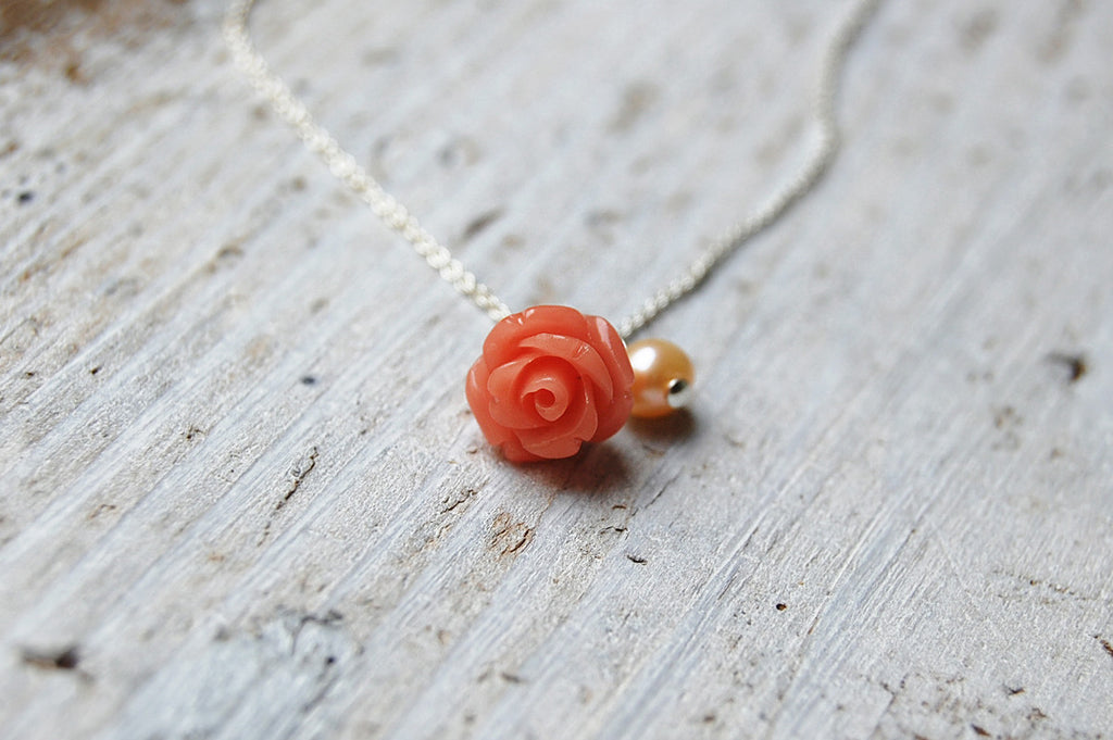 rose (coral pink) & pearl necklace