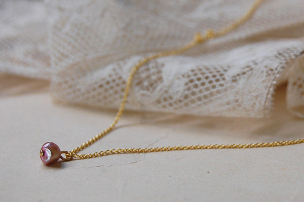 small rose water pearl necklace - gold plated