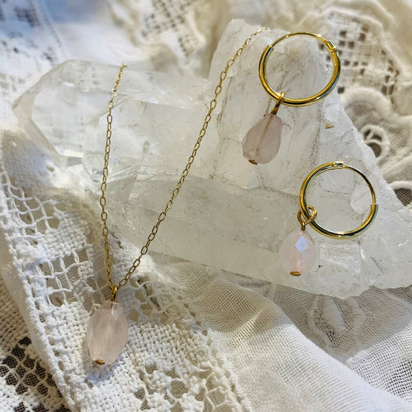 rose quartz set | 24k gold-plated