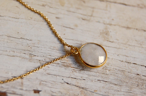 moonstone | round stone pendant necklace | 24k gold-plated