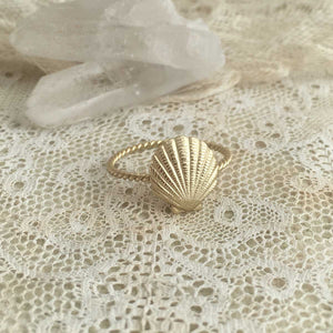 shell ring - gold plated