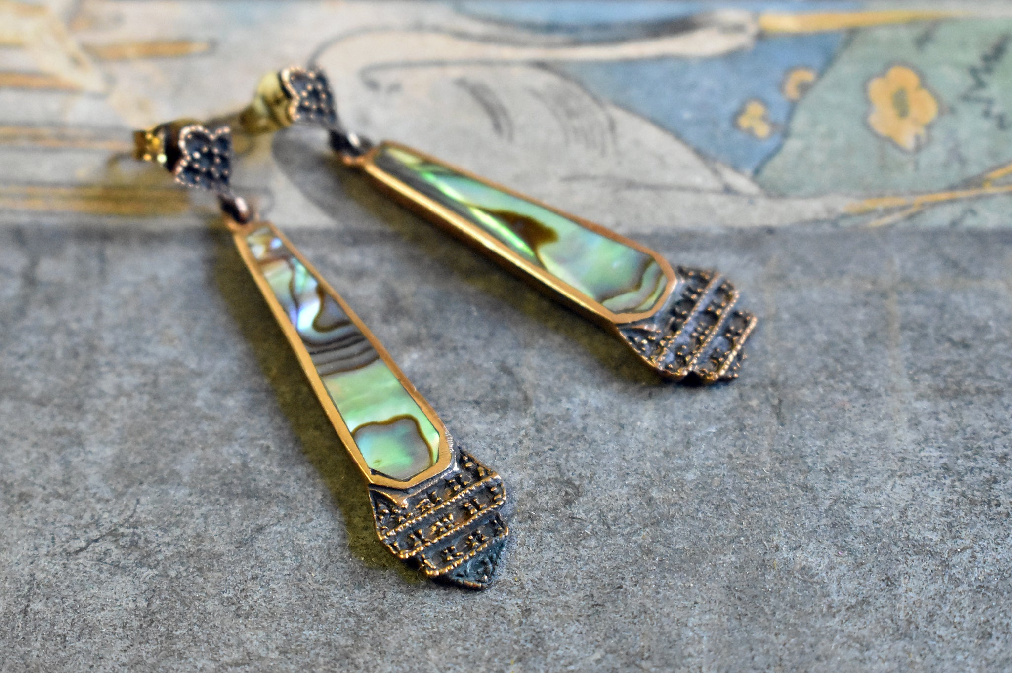 abalone | 'antonella' earrings | bronze