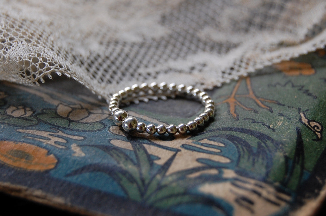 925 silver ball ring adjustable