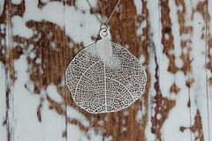 filigree leaf necklace (925 silver plated)