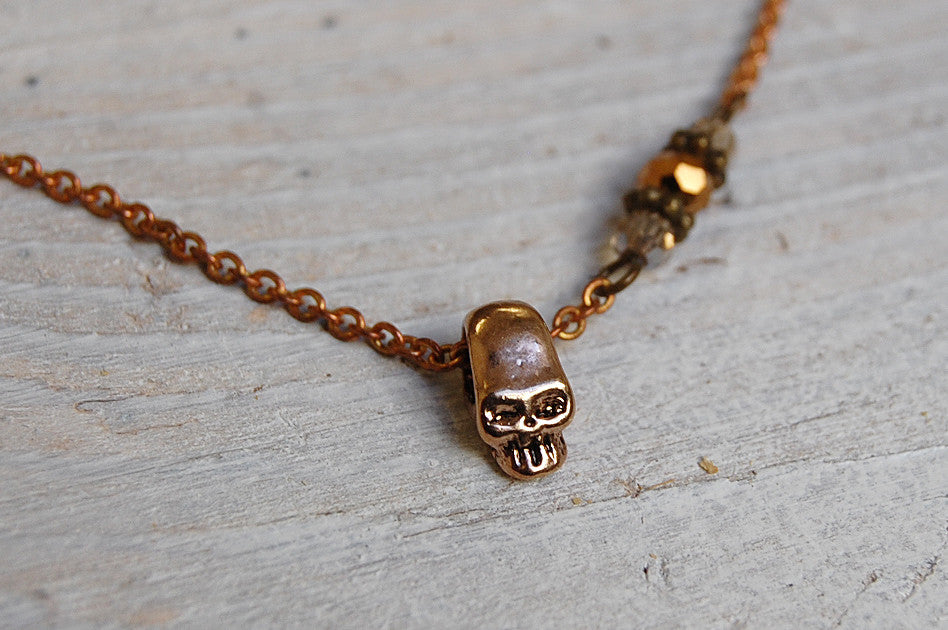 skull & crystals necklace