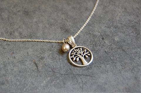 tree of life necklace with pearl