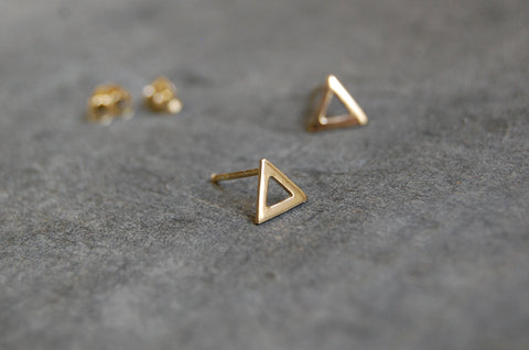 triangle earstuds (925 silver gold-plated)