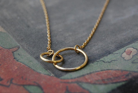 two rings necklace (925 silver gold-plated)
