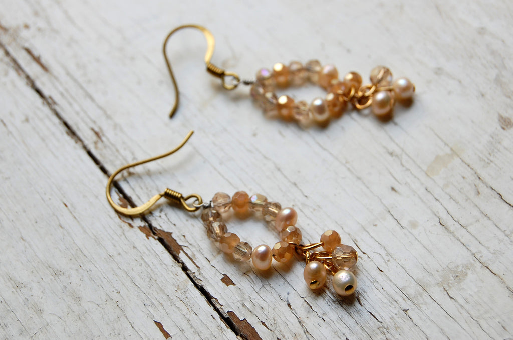 pearls & crystal handmade earrings