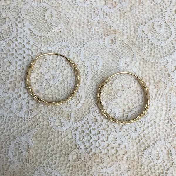 woven hoops - gold plated