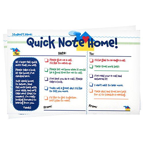 Teacher Peach Quick Notes Home Checklist to Parents - Classroom Teaching Supplies for Preschool, Kindergarten, or Elementary School Teachers with Carbon Copy - 50 Tablets
