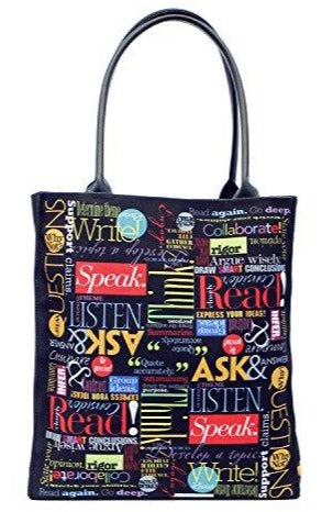 Large Canvas School Teacher Tote Bag with Rolled Handles
