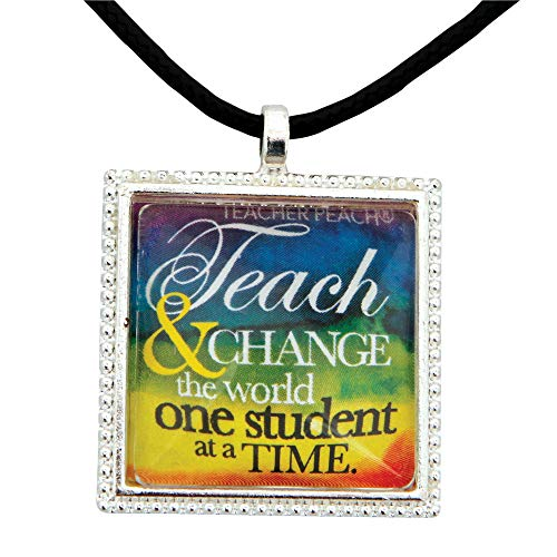 Handmade Teacher Gift Pendant Necklace (Change the world)