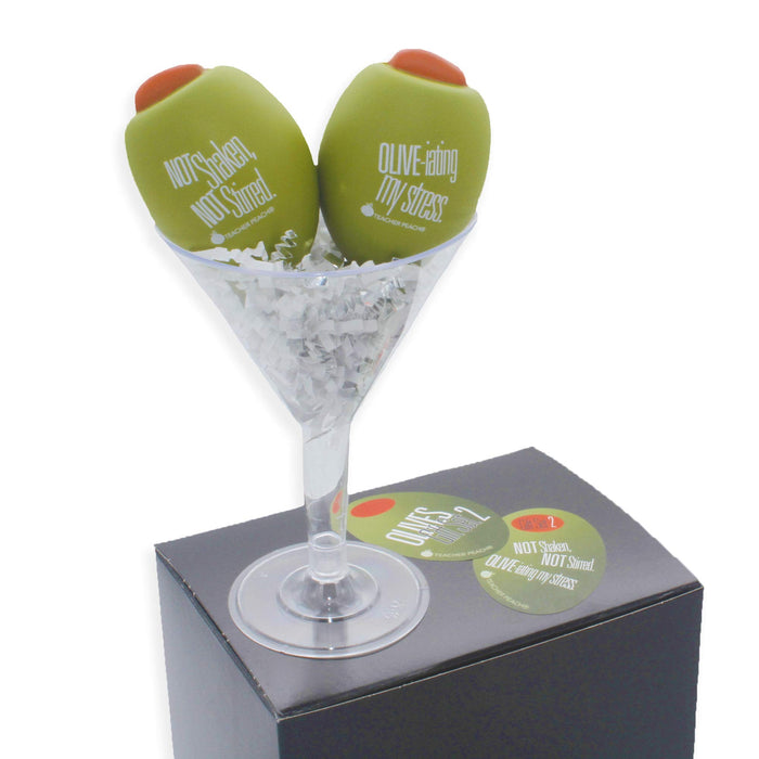 Teacher Peach Stress Relievers Set of Two Olives Better-Than-Drinking Novelty Gift Set (Not Shaken)