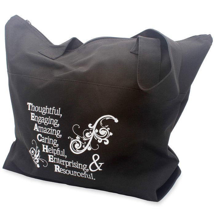 Acrostic Zippered Fabric Tote Bag Gift (Teacher)