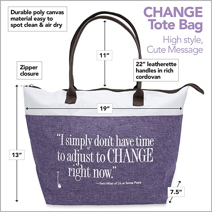 Adjust to Change Zipper Gift Tote Bag
