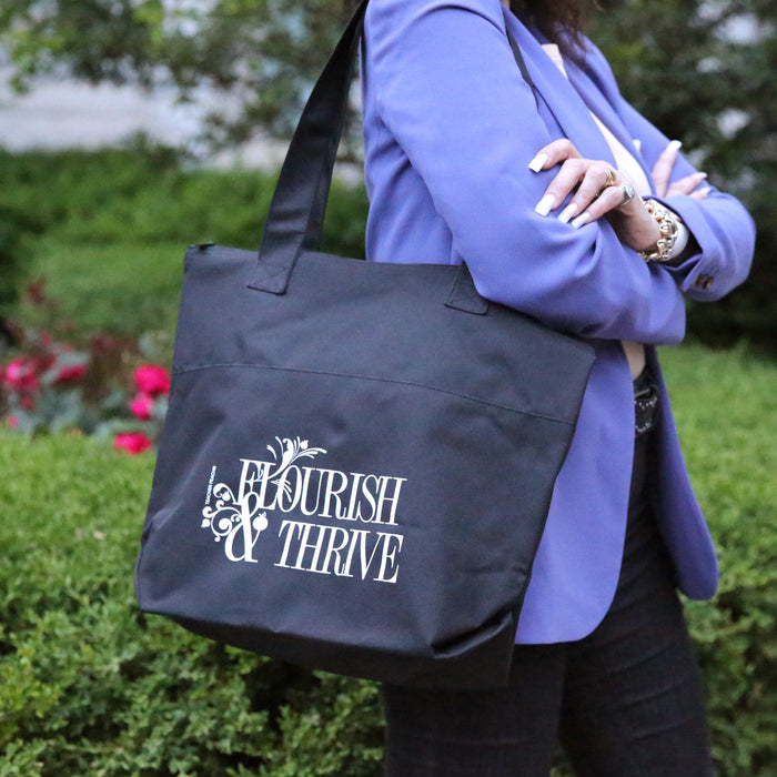 Motivational Encouragement Flourish & Thrive Tote Bag