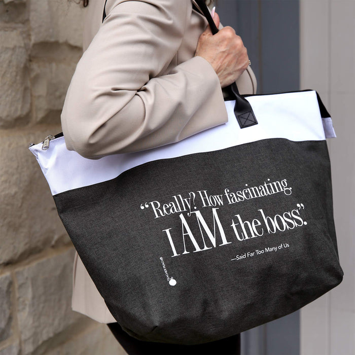 I Am the Boss Zippered Fabric Gift Tote Bag