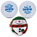 Set of winter-themed snow ball stress balls with 2 snow white stressballs with snow-themed messages and fun snowman-shaped stress ball with fun message