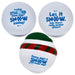 3 snow ball stress balls showing back of snowman stress ball so messages are visible.