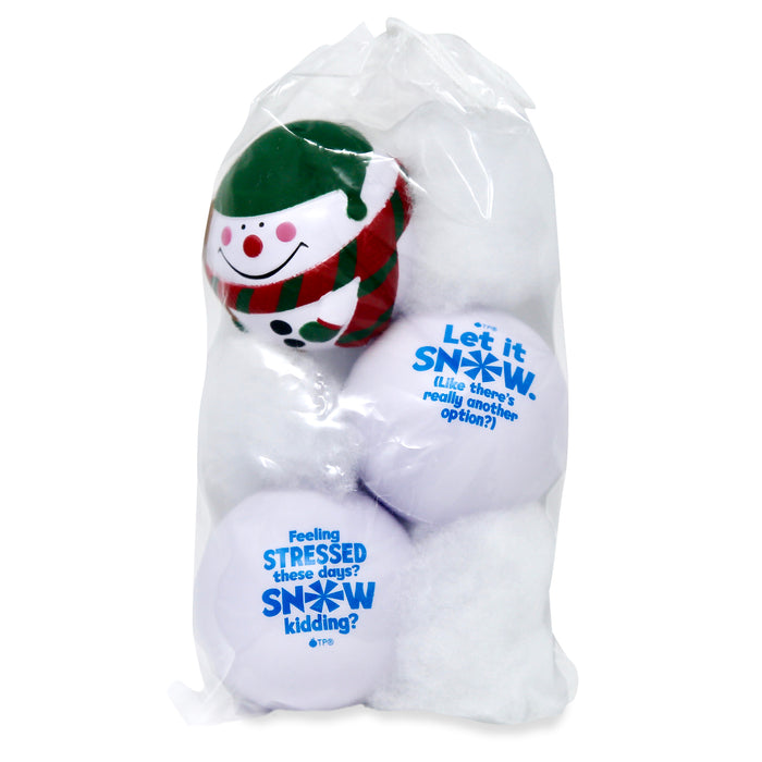 Package of three snow ball stress balls in clear drawstring pouch with poly-fill snow filler