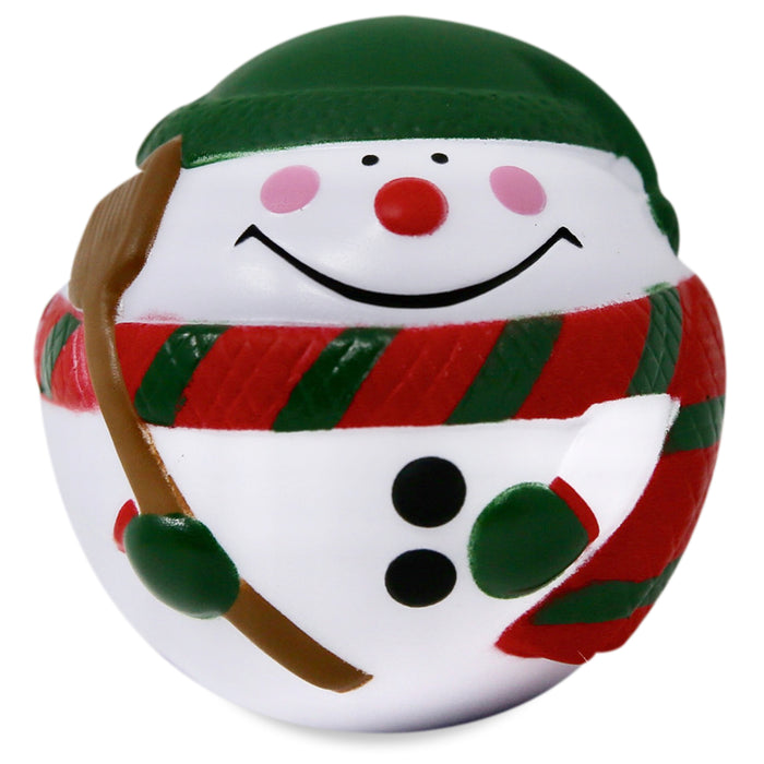 Front view of smiling face of snowman stress reliever
