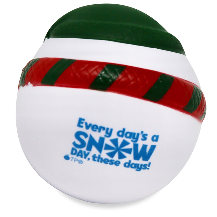Back view of snowman stress reliever with snowflake design on message that reads: Every Day's a snow day, these days!