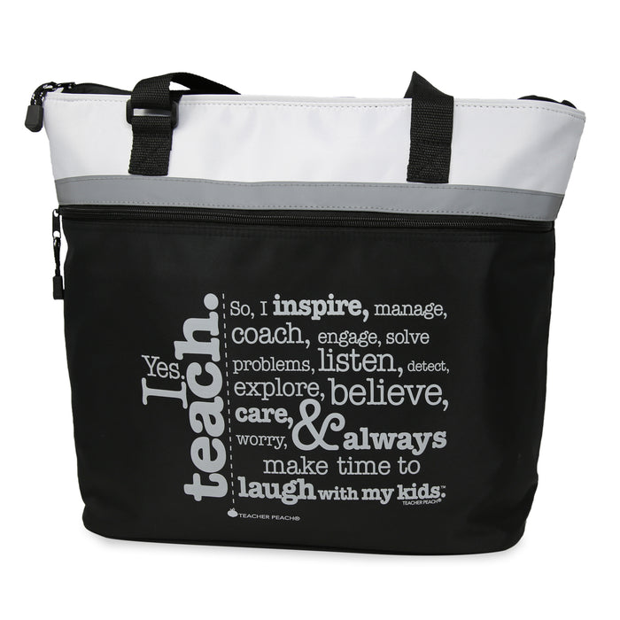 Teacher Gift Tote with Inspiring Message, jumbo size in black, gray, and white