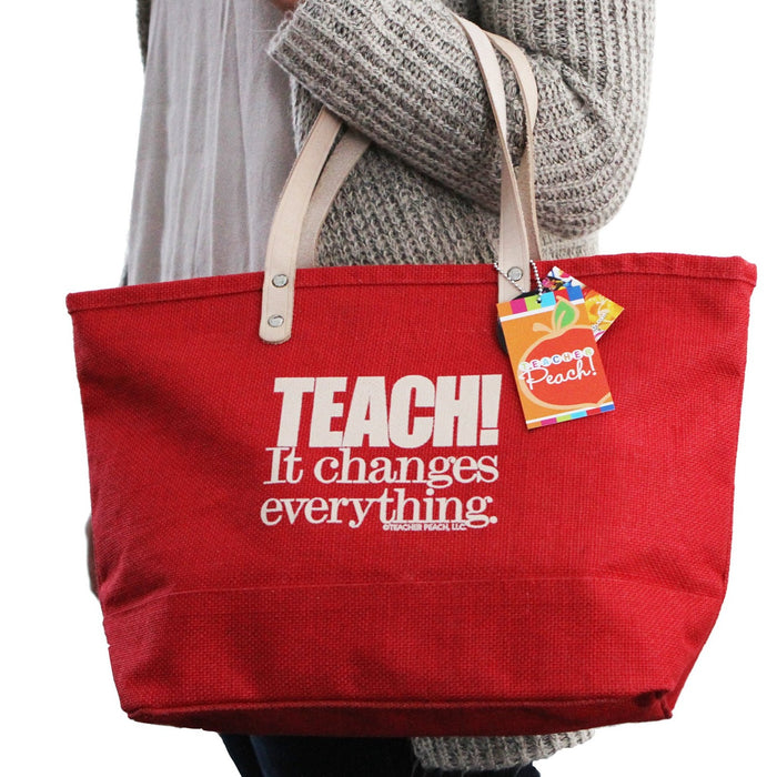 Teacher Gift Tote Utility Red Handbag Tote