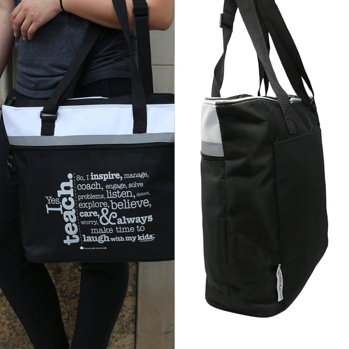 Split image showing teacher using techer gift tote and side view of jumbo teacher gift tote bag