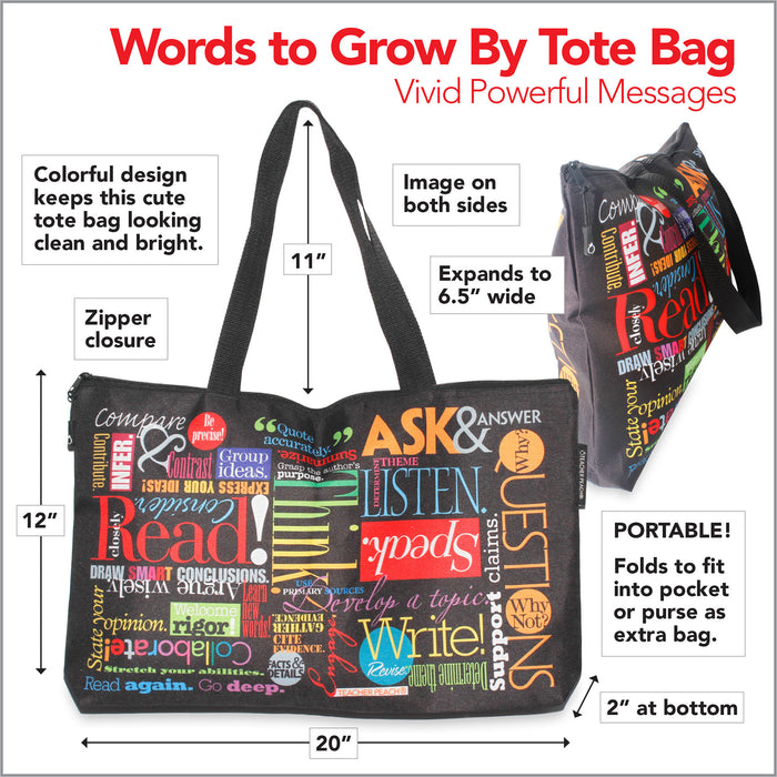 Words to Grow By Travel Teacher Gift Tote