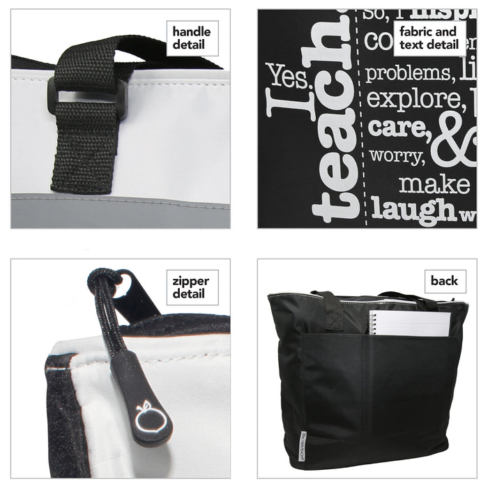 four close-up images of jumbo tote bag details of handle, zipper, design, message, and big back pockets