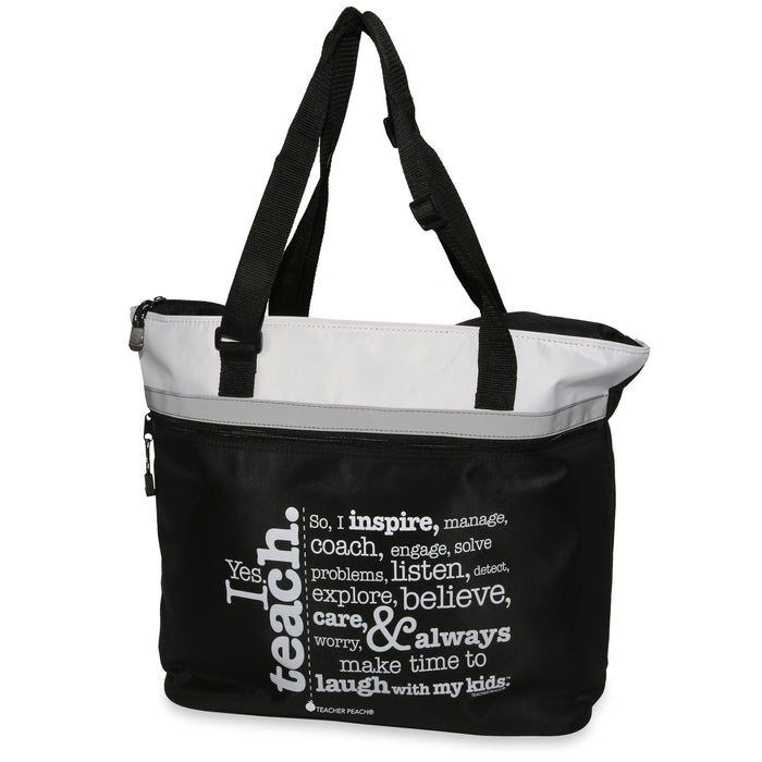 Teacher Gift Tote with Inspiring Message, jumbo size with adjustable shoulder straps