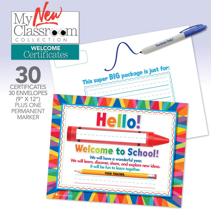Back to School Welcome Certificates, Set of 30