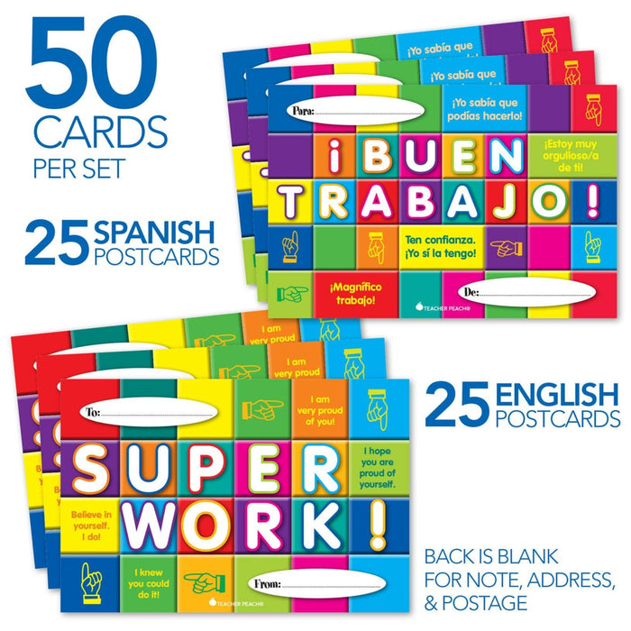 Spanish-English COMBO Positive Postcards (¡BUEN TRABAJO!-Super Work!)
