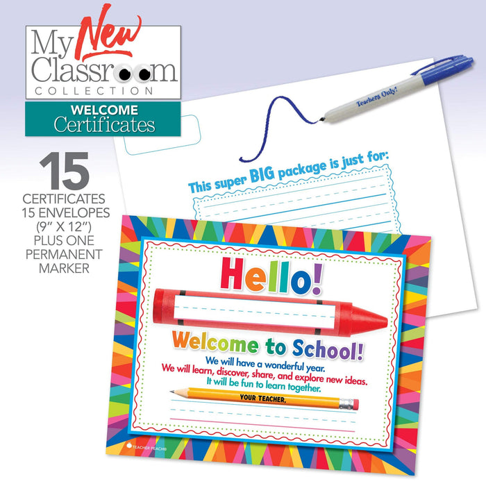 Back to School Welcome Certificates, Set of 15